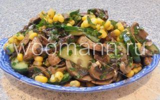 Салаты с грибами шампиньонами, свежими, солеными и маринованными огурцами: рецепты вкусных блюд