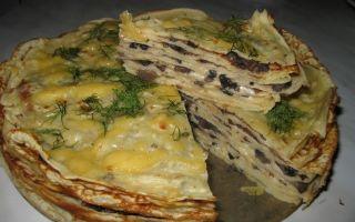 Вкусные блинчики с грибами: рецепты и фото, как приготовить блины с грибами и блинный торт