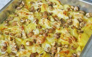 Запечённые белые грибы в духовке со сметаной и сыром, картошкой и мясом