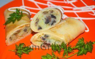 Блины с мясом и грибами: рецепты, фото приготовления фаршированных грибов
