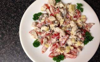 Салаты с куриной грудкой и шампиньонами: фото и рецепты вкусных блюд с грибами и куриным мясом