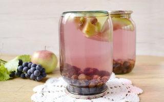 Компот из зелёного винограда и яблок на зиму — простой пошаговый рецепт