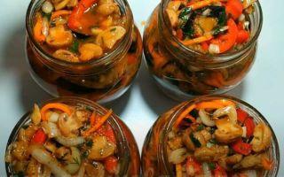 Салаты из баклажанов с шампиньонами на зиму — рецепт с фото пошагово
