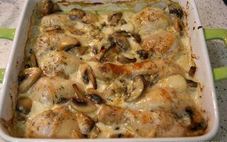 Курица с грибами в сливочном соусе: фото, видео и рецепты приготовления блюд