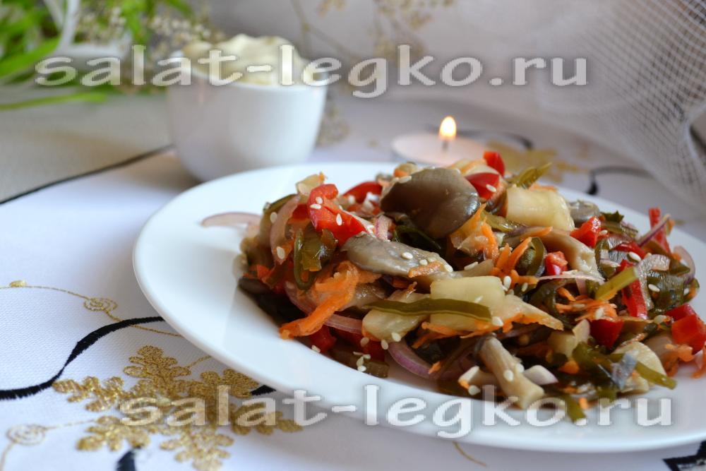 Салат с маринованными грибами вешенки