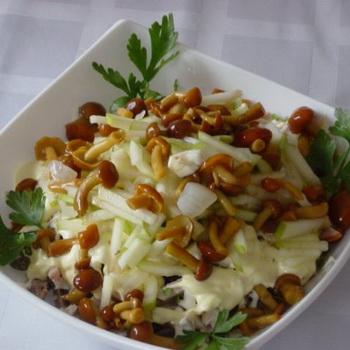 приготовление салат с грибами
