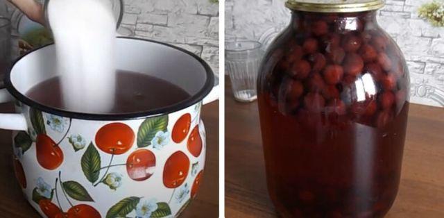 Компот из вишни с косточками без стерилизации на 1 литр на зиму - простой рецепт от автора