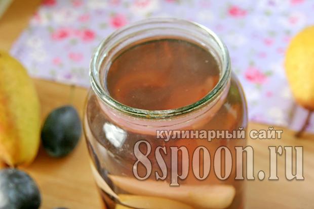 Компот из груши и сливы на 2 литровую банку на зиму - простой рецепт от автора