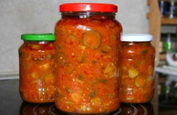 Салат Осенний с помидорами, огурцами, перцем на зиму - рецепт приготовления с пошаговыми фото