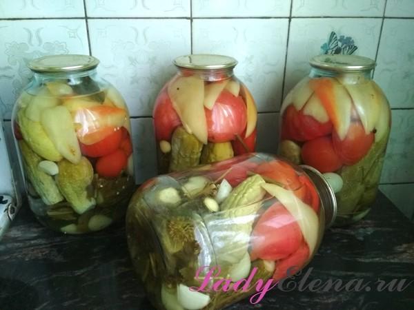 Ассорти огурцы и помидоры на зиму в 3 литровых банках - вкусный рецепт с пошаговыми фото