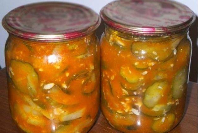 Огурцы в томатной заливке без стерилизации на зиму - рецепт с пошаговыми фото