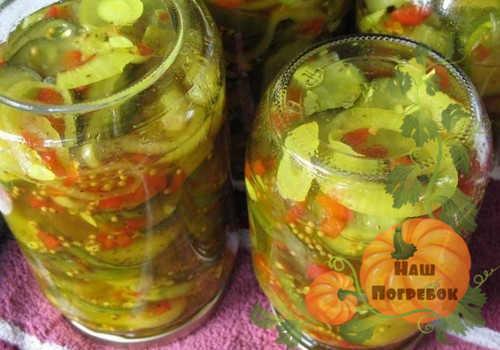 Салат из помидоров и огурцов в собственном соку на зиму - пошаговый рецепт с фото