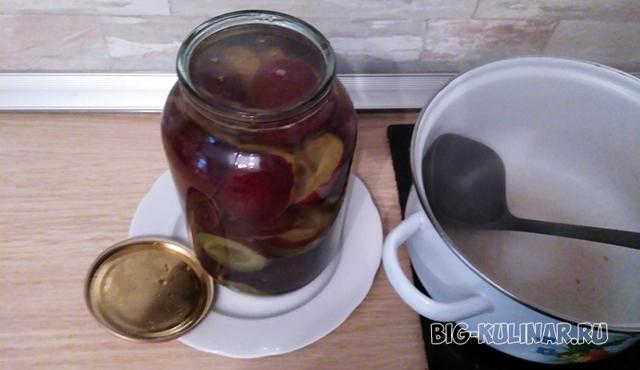 Компот из груш и слив на 3 литровую банку без стерилизации на зиму - простой рецепт от автора
