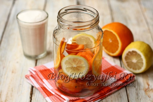 Абрикосовый компот с апельсином и лимоном на 3-литровую банку на зиму - рецепт с пошаговыми фото