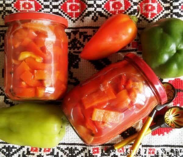 Перец в томатном соусе на зиму - простой пошаговый рецепт