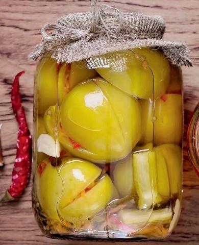 Зелёные помидоры по-армянски без стерилизации на зиму - простой рецепт от автора пошагово