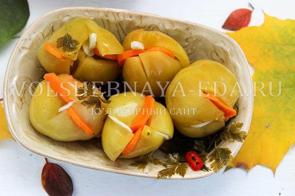 Зеленые помидоры, фаршированные чесноком на зиму - рецепт с пошаговыми фото