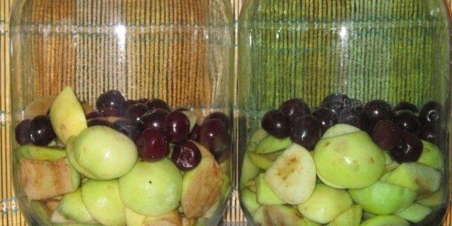 Компот из вишни и яблок на зиму на 3-литровую банку - простой рецепт от автора