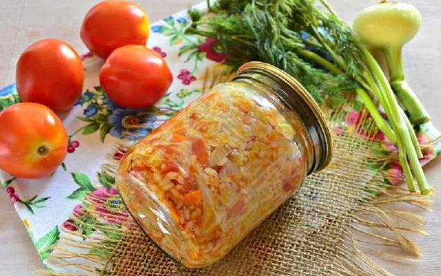 Салат с рисом без уксуса на зиму - рецепт с пошаговыми фото
