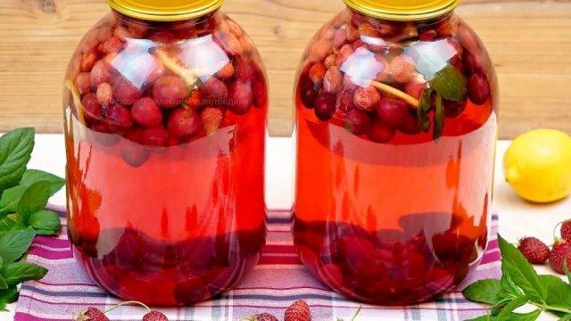 Компот из вишни и смородины на 3-литровую банку на зиму - простой рецепт от автора