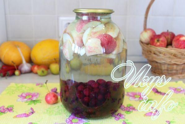 Компот из вишни и яблок на 2-х литровую банку на зиму - простой рецепт от автора