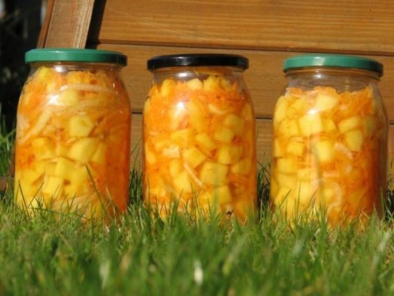 Салат из кабачков моркови и лука на зиму - пошаговый рецепт с фото