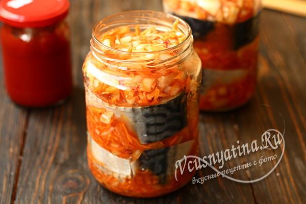 Скумбрия в томате на зиму - рецепт с пошаговыми фото