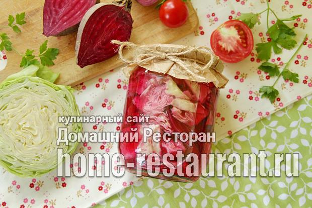 Салат из свеклы с чесноком на зиму - простой и вкусный рецепт с фото