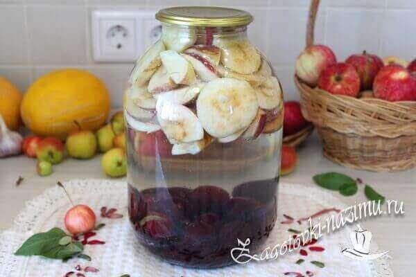 Компот из желтой сливы и яблок на зиму на 3 литровую банку - простой пошаговый рецепт
