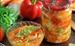 Салат из огурцов, помидоров и капусты без стерилизации на зиму - рецепт с пошаговыми фото