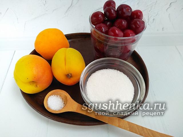 Компот из абрикосов и вишни на 1 литровую банку на зиму - пошаговый рецепт с фото