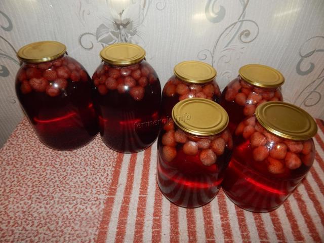 Компот из клубники без стерилизации на 1 литровую банку на зиму - рецепт с пошаговыми фото