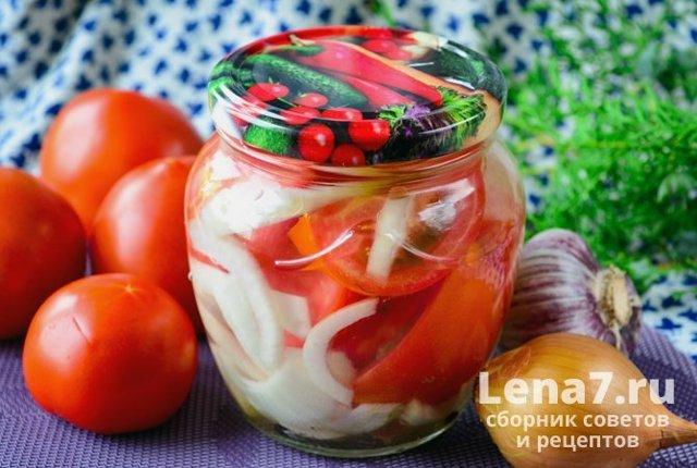 Помидоры дольками с луком на зиму без стерилизации - рецепт с фото пошагово