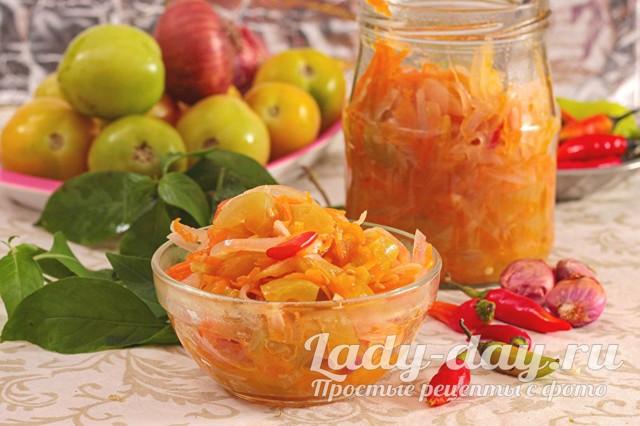 Салат из зеленых помидоров с майонезом на зиму - простой и вкусный рецепт с пошаговыми фото