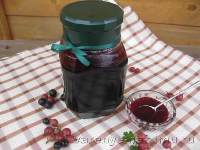 Желе из черной смородины и крыжовника на зиму - простой пошаговый рецепт