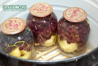 Компот из зелёного винограда и яблок на зиму - простой пошаговый рецепт
